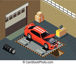 Car Tuning Isometric Composition