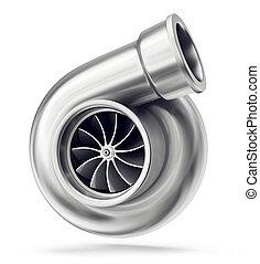 turbine - car turbine isolated on a white. 3d interior