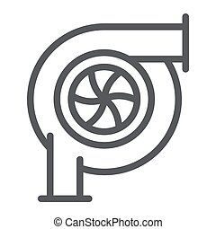 Car turbine line icon, auto and part, car detail sign,...