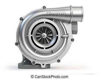Car turbocharger isolated on white background. Turbo engine.