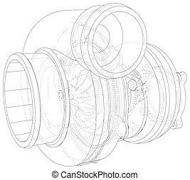 Car Turbocharger line background Isolated. Vector illustration. Tracing illustration of 3d