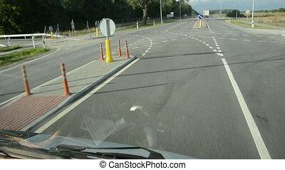 car turn on the asphalt road