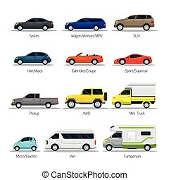 Car Type and Model Objects icons Set - Multicolor,...