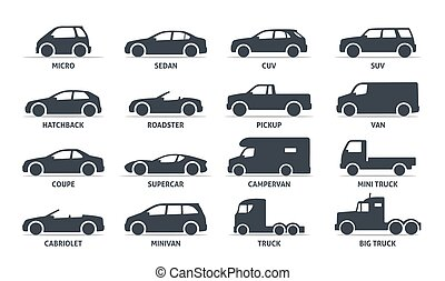 Car Type and Model Objects icons Set, automobile. Vector...