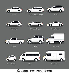 Car Type and Model Objects icons Set - White Body Color,...