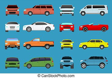 Car type vector model vehicle objects icons set multicolor automobile supercar. Wheel symbol car types coupe hatchback. Traffic collection showroom camper car types minivan flat mini automotive
