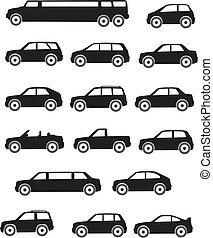 Car Types - Set silhouettes of vehicles of various types