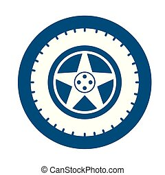 car tyre assembly piece flat icon