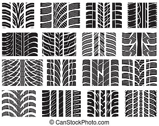 Car tyre - Set of various tyre treads