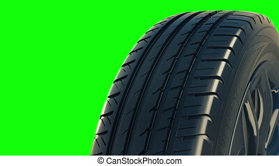 Car tyre summer wheel rotate motion isolate green - Car tyre...