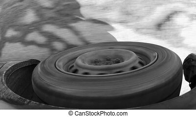 Car tyre when car move on the road.