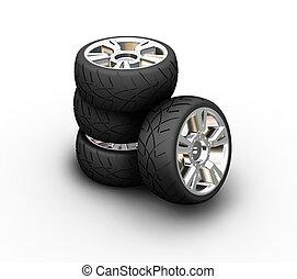 3D render of car tyres