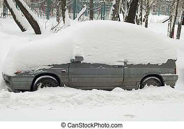 car under snow in city Moscow