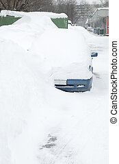 car under snow in the city Moscow