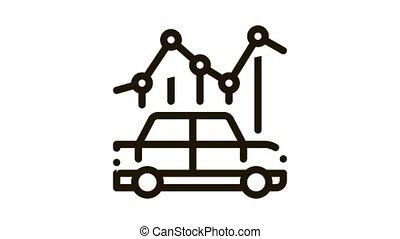 car use infographic Icon Animation. black car use infographic animated icon on white background