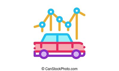 car use infographic Icon Animation. color car use infographic animated icon on white background