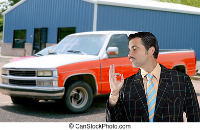car used salesperson selling old car as brand new truck salesman typical topic ok gesture