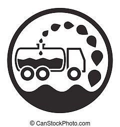 car vacuum sewage treatment and sewage. Black and white.