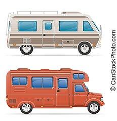 car van caravan camper mobile home with beach accessories...