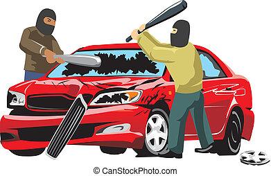 car vandalism - two persons in mask split car