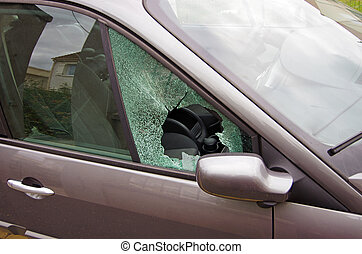 car vandalism with smashed car window