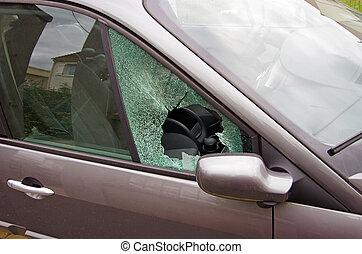 car vandalism with smashed car window