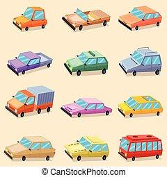 car, veículo, transporte, ícones