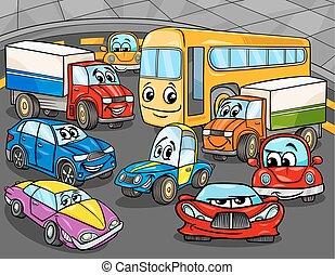 car, veículos, grupo, caricatura, caráteres