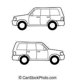 Car , vector black lines over white background