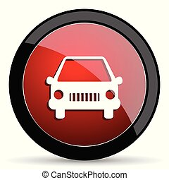 Car vector icon. Modern design red and black glossy web and mobile applications button in eps 10