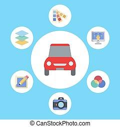 Car vector icon sign symbol