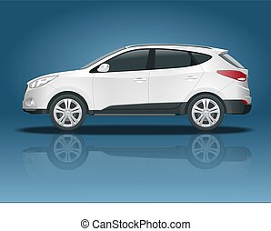 Car vector template on white background. Compact crossover, CUV, 5-door station wagon car. Template vector isolated. View side.