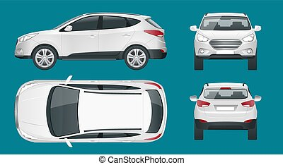 Car vector template on white background. Compact crossover, CUV, 5-door station wagon car. Template vector isolated. View front, rear, side, top.