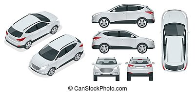 Car vector template on white background. Compact crossover, CUV, 5-door station wagon car. Template vector isolated. View isometric, front, rear, side, top.