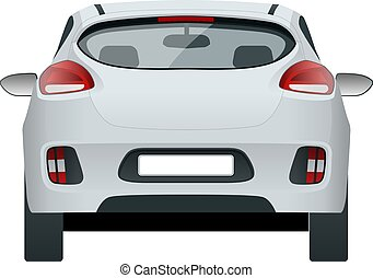 Car vector template on white background. Compact crossover, CUV, 5-door station wagon car. Template isolated. View rear