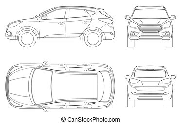 Car vector template on white background. Compact crossover, CUV, 5-door station wagon on outline. Template vector isolated. View front, rear, side, top.