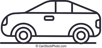 car, vehicle, automobile vector line icon, sign, illustration on background, editable strokes