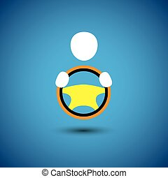 car, vehicle or automobile driver icon or symbol- vector graphic