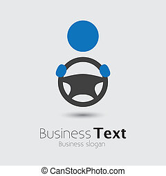 Car, vehicle or automobile driver icon or symbol- vector graphic. The illustration shows a cabbie icon with his hand holding the steering wheel and space for business text and business slogan