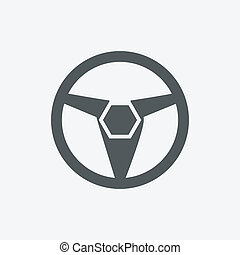 Car, vehicle or automobile steering wheel icon or symbol- vector graphic.