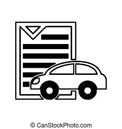 car vehicle silhouette with document icon