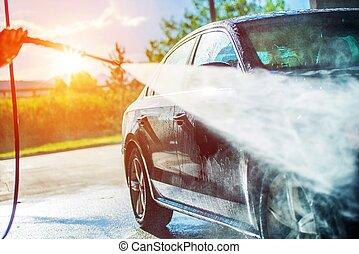 car, verão, lavando