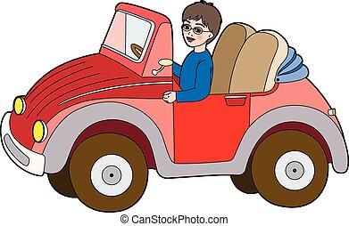 car, vermelho, criança