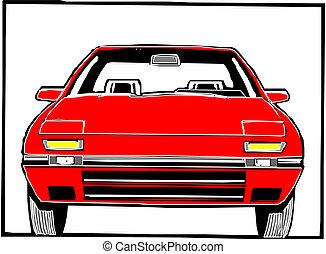 car, vermelho, esportes
