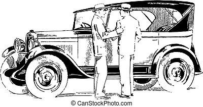 car, vetorial, antigas, cronômetro, ilustração