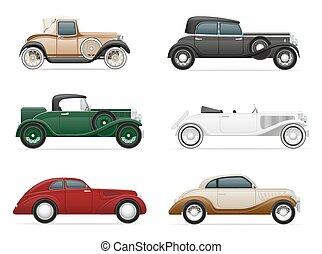 car, vetorial, antigas, retro, ilustração