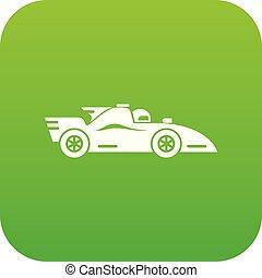 car, vetorial, correndo, verde, ícone