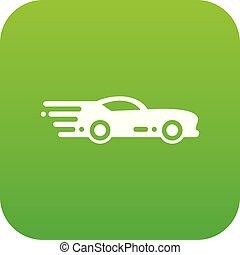 car, vetorial, desporto, verde, ícone