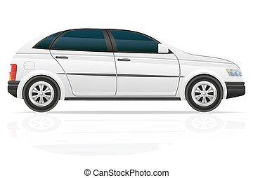 car, vetorial, hatchback, ilustração
