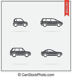 car, vetorial, jogo, ícones